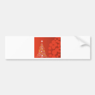 Red Christmas Tree Background Bumper Sticker