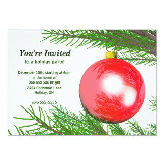 Red Christmas Tree Ball Holiday Party 5x7 Paper Invitation Card