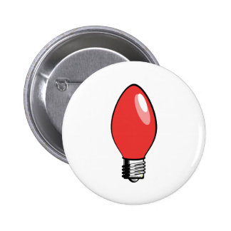 Red Christmas Tree Bulb Pinback Button