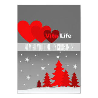 "Red Christmas Tree Business Logo Card 5"" X 7"" Invitation Card"