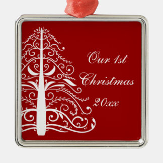 Red Christmas Tree First Christmas Together Square Metal Christmas Ornament
