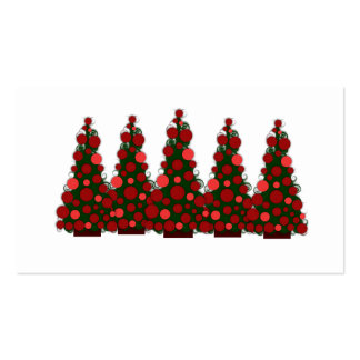Red Christmas Tree Gift Tag Business Card