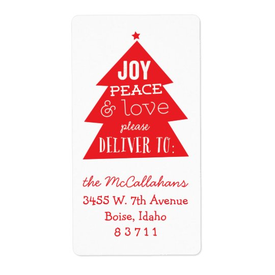 red christmas tree holiday package mailing label zazzle com