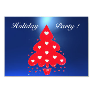 RED CHRISTMAS TREE HOLIDAY PARTY blue Card