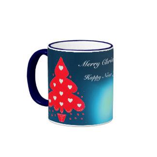 RED CHRISTMAS TREE HOLIDAY PARTY blue Mug