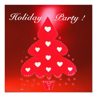 RED CHRISTMAS TREE HOLIDAY PARTY blue white Card