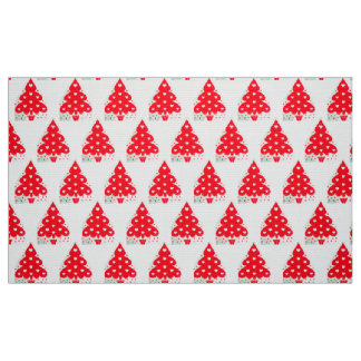RED CHRISTMAS TREE HOLIDAY PARTY FABRIC