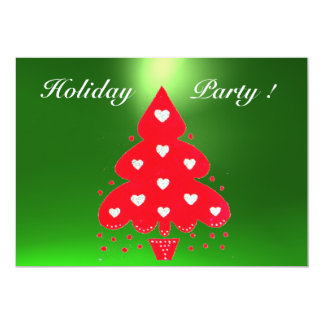 RED CHRISTMAS TREE HOLIDAY PARTY green Card