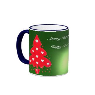 RED CHRISTMAS TREE HOLIDAY PARTY green Coffee Mug