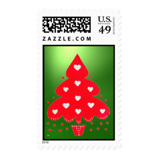 RED CHRISTMAS TREE HOLIDAY PARTY green Postage Stamp