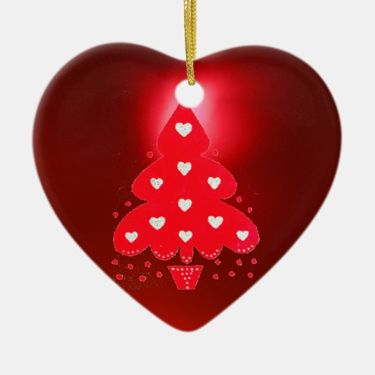 RED CHRISTMAS TREE HOLIDAY PARTY red Ceramic Ornament