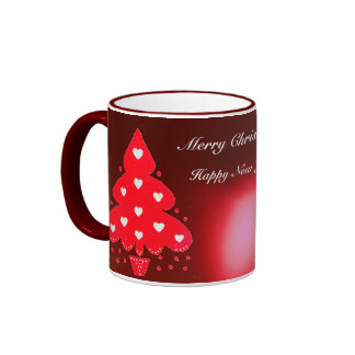 RED CHRISTMAS TREE HOLIDAY PARTY red Coffee Mugs