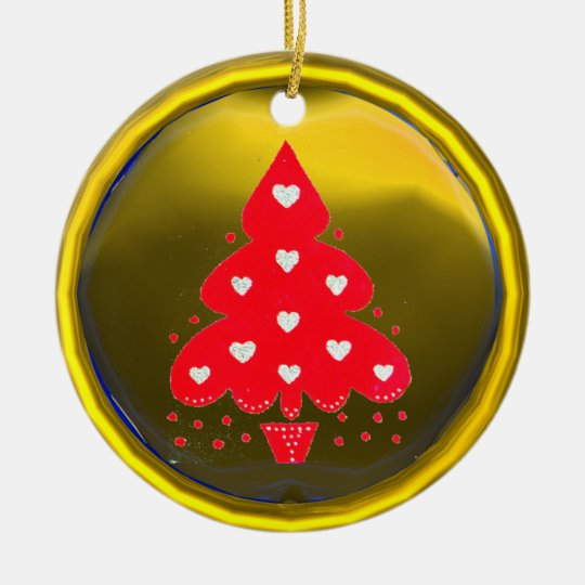 RED CHRISTMAS TREE HOLIDAY PARTY yellow Ceramic Ornament
