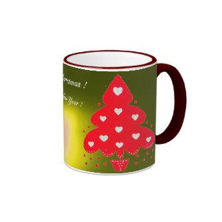 RED CHRISTMAS TREE HOLIDAY PARTY yellow Coffee Mug