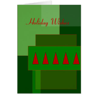 Red Christmas Tree Holiday Wishes Card