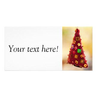 Red christmas tree photo card