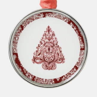 Red Christmas Tree Premium Round Ornament