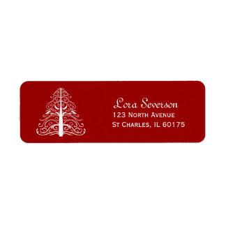 Red Christmas Tree Return Address Labels