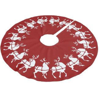 Red Christmas Tree Skirt Holiday Reindeer Decor