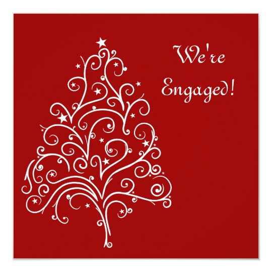 Red Christmas Tree Winter Engagement Party Invite