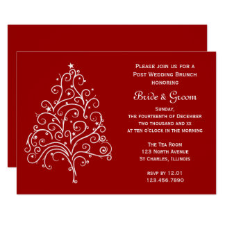 Red Christmas Tree Winter Post Wedding Brunch Card