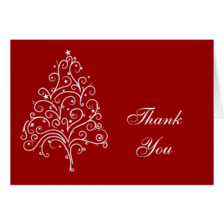 Red Christmas Tree Winter Thank You Card