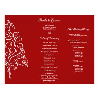 Red Christmas Tree Winter Tri Fold Wedding Program