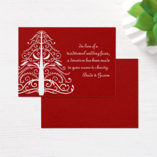 Red Christmas Tree Winter Wedding Charity Favor Business Card