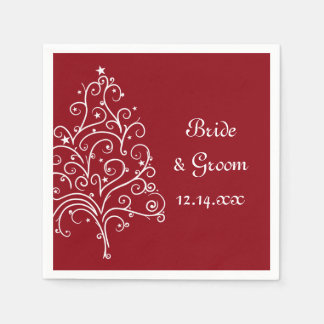 Red Christmas Tree Winter Wedding Paper Napkin
