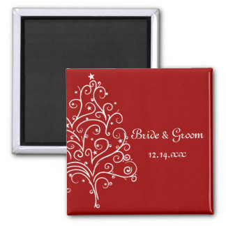 Red Christmas Tree Winter Wedding Save the Date 2 Inch Square Magnet