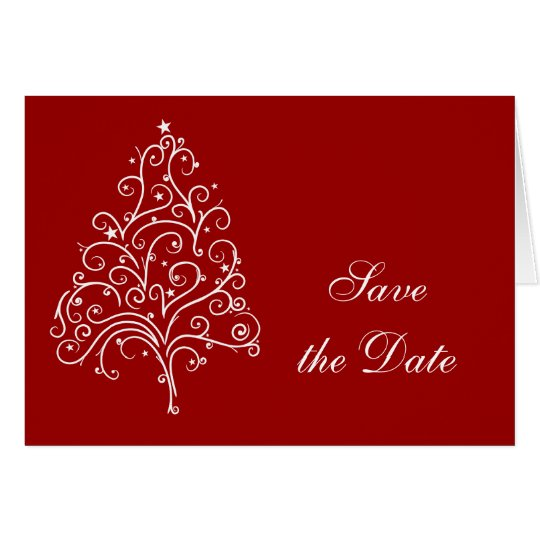 Red Christmas Tree Winter Wedding Save the Date Card