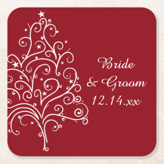Red Christmas Tree Winter Wedding Square Paper Coaster