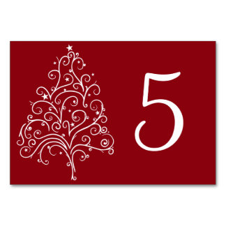 Red Christmas Tree Winter Wedding Table Numbers