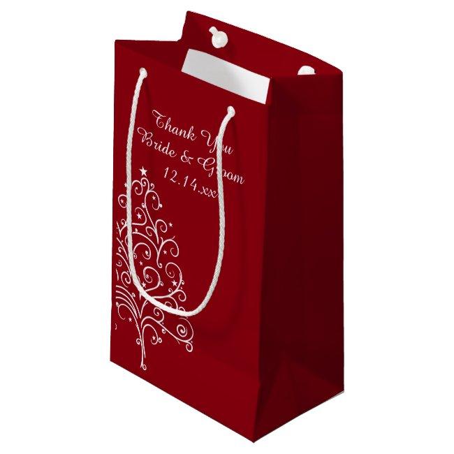 Red Christmas Tree Winter Wedding Thank You Small Gift Bag