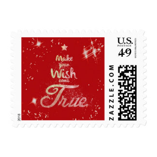 Red Christmas Tree Wishes Come True Stamp