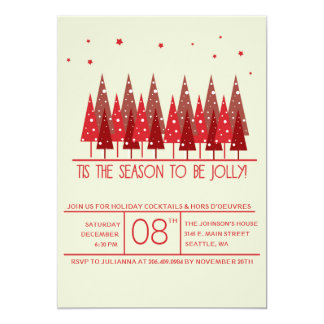 Red Christmas Trees Holiday/Christmas Party Invite