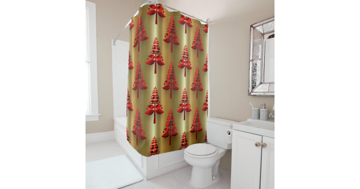 Red Christmas Trees On Gold Shower Curtain Zazzle