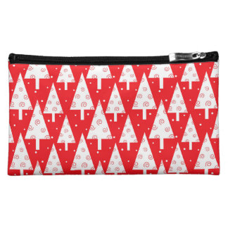 Red Christmas Trees Pattern Makeup Bags