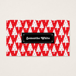 Red Christmas Trees Pattern Business Card