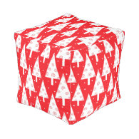 Red Christmas Trees Pattern Cube Pouf