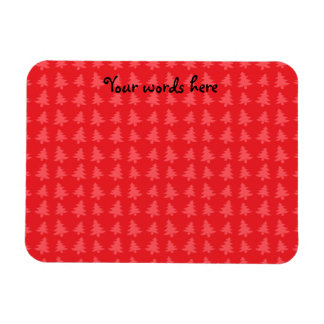 Red christmas trees pattern rectangle magnets