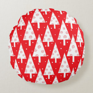 Red Christmas Trees Pattern Round Pillow