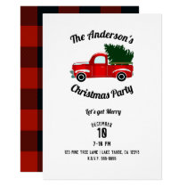 Red Christmas Truck Rustic Christmas Holiday Party Invitation