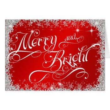 Red Christmas Typography Merry and Bright Customiz Card