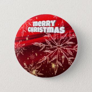 Red christmas white snow pinback button