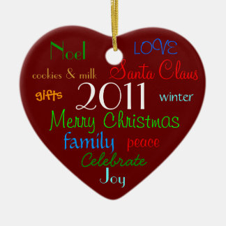Red Christmas Words Ornament