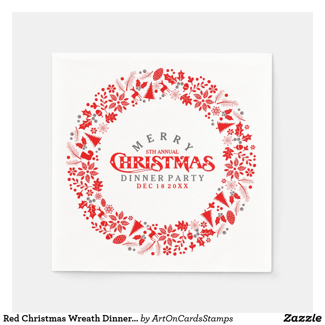 Red Christmas Wreath Dinner Party Invite Napkin