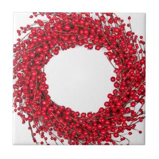 Red Christmas wreath Tile