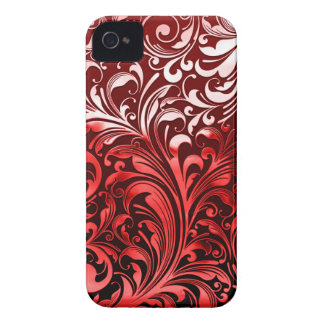 Red Chrome on Black background iPhone 4 Case