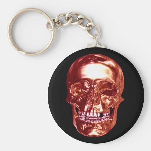 Red Chrome Skull Key Chain